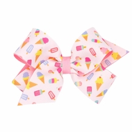 Wee Ones Girls Novelty Hair Bow - Pink Ice Cream & Popsicles Print