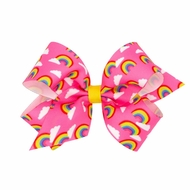 Wee Ones Girls Novelty Hair Bow - Rainbow Print - Hot Pink