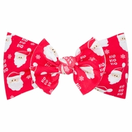 Wee Ones Girls Nylon Print Headband with Bow - Red Santa Claus