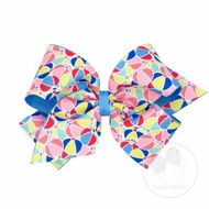 Wee Ones Girls Overlay Hair Bow - Vintage Vacation - Beach Balls