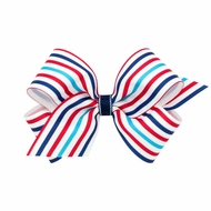 Wee Ones Girls Patriotic Hair Bow - Red / White / Blue Stripes
