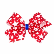 Wee Ones Girls Patriotic Hair Bow - Red with White Stars