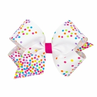 Wee Ones Girls Printed Grosgrain Bow - Confetti Dots Print