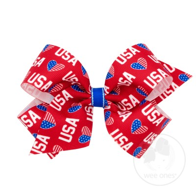 Wee Ones Girls Red USA Hearts July 4th Patriotic Bow on Clip