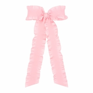 Wee Ones Girls Ruffle Edge Bow with Streamer Tails - Light Pink