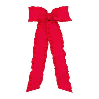 Wee Ones Girls Ruffle Edge Bow with Streamer Tails - Red