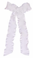 Wee Ones Girls Ruffle Edge Bow with Streamer Tails - White