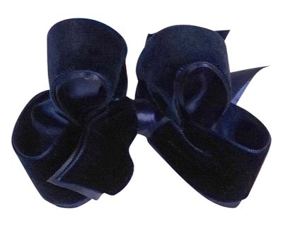 Wee Ones Girls Satin / Velvet Overlay Bow - Navy Blue
