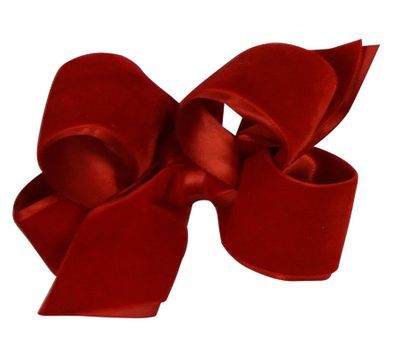 Wee Ones Girls Satin / Velvet Overlay Bow - Red