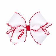 Wee Ones Girls White Hair Bow - Red Moonstitch - Embroidered Candy Cane