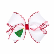 Wee Ones Girls White Hair Bow - Red Moonstitch - Embroidered Christmas Tree