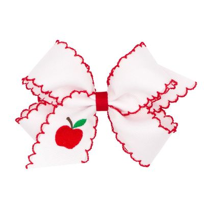 Wee Ones Girls White Hair Bow with Red Moonstitch - Embroidered Red Apple