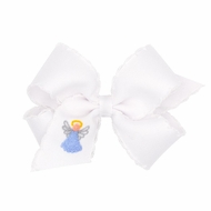 Wee Ones Girls White Moonstitch Hair Bow - Embroidered Angel