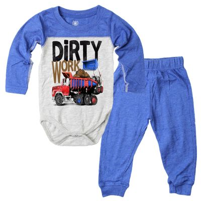 Wes & Willy Baby Boys Blue Dirty Work Truck Pants Set