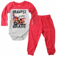 Wes & Willy Baby Boys Red Bravest of the Brave Firetruck Pants Set