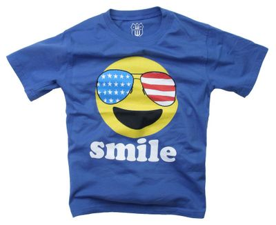 Wes & Willy Boys Blue Patriotic Smiley Face Smile Shirt