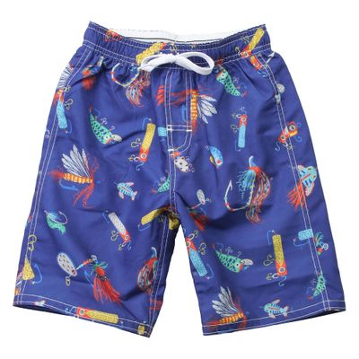 Wes & Willy Boys Blue Swim Trunks - Fishing Lures