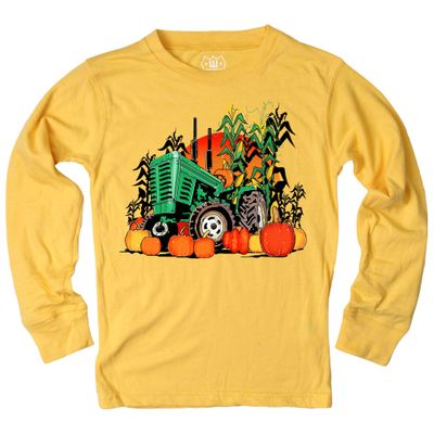 Wes & Willy Boys Bold Gold Fall Pumpkin Harvest Tractor Shirt