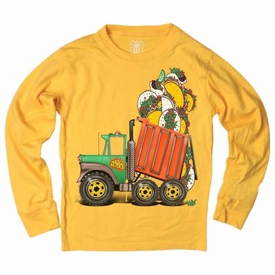 Wes & Willy Boys Bold Gold Long Sleeved T-Shirt - Taco Dump Truck