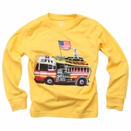 Wes & Willy Boys Bold Gold Shirt - Big Red Firetruck - Long Sleeves