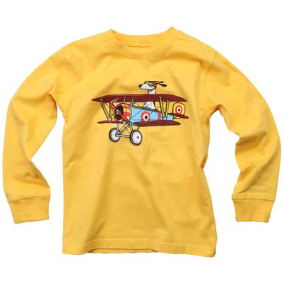 Wes & Willy Boys Bold Gold Shirt - Dog Airplane Pilot