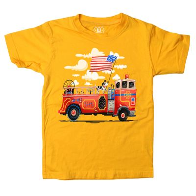 Wes & Willy Boys Bold Gold Shirt - Patriotic Flag Firetruck - Short Sleeves