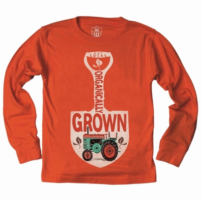 Wes & Willy Boys Burnt Orange Shirt - Organically Grown Shovel and Tractor