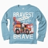 Wes & Willy Boys Cadet Blue Shirt - Bravest of the Brave Firetruck