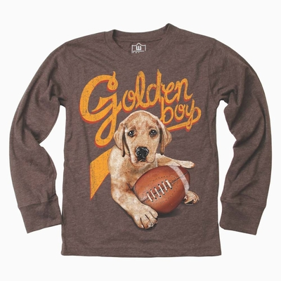 Wes & Willy Boys Chocolate Brown Golden Boy Football Dog Shirt