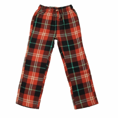 Wes & Willy Boys Comfy Plaid Lounge Pants - Burnt Orange / Green