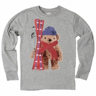 Wes & Willy Boys Gray Snow Ski Teddy Bear Shirt
