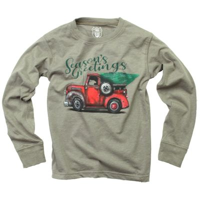 Wes & Willy Boys Moss Green Season's Greetings Christmas Tree Truck Shirt