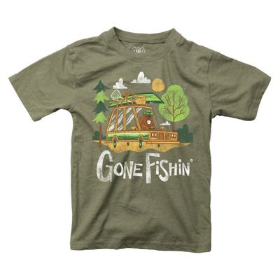 Wes & Willy Boys Green Shirt - Gone Fishin'