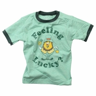 Wes & Willy Boys Green St. Patrick's Day Feeling Lucky Leprechaun Shirt