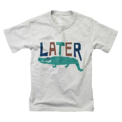 Wes & Willy Boys Gray Tee Shirt - Later Gator Alligator