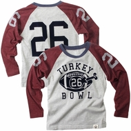 Wes & Willy Boys Grey Thanksgiving Turkey Bowl #26 Shirt - Maroon Raglan Sleeves
