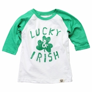 Wes & Willy Boys Lucky & Irish Green 3/4 Sleeves St. Patrick's Day Shirt