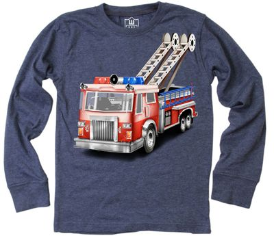 Wes & Willy Boys Midnight Blue Red Firetruck Shirt