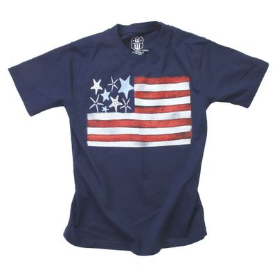 Wes & Willy Boys Midnight Blue Shirt - Patriotic Starfish U.S. Flag