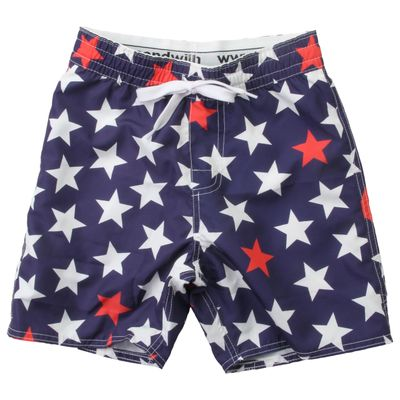 Wes & Willy Boys Navy Blue / Red & White Stars Patriotic Swim Trunks