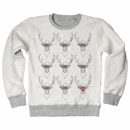 Wes & Willy Boys Oatmeal Heather Gray Fleece Reindeer Shirt with Rudolph