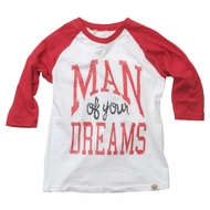 Wes & Willy Boys Red 3/4 Raglan Baseball Sleeve Shirt - Valentines Man of Your Dreams