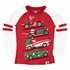 Wes & Willy Boys Red Raglan Sleeve Shirt - Christmas Holiday Race Cars