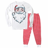 Wes & Willy Boys Red Striped Pajamas with Santa Claus Top