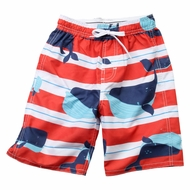 Wes & Willy Boys Red / White Stripe Swim Trunks with Blue Whales