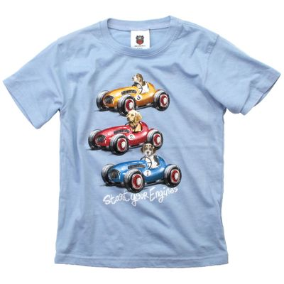 Wes & Willy Boys Sky Blue Shirt - Three Dogs Driving Race Cars