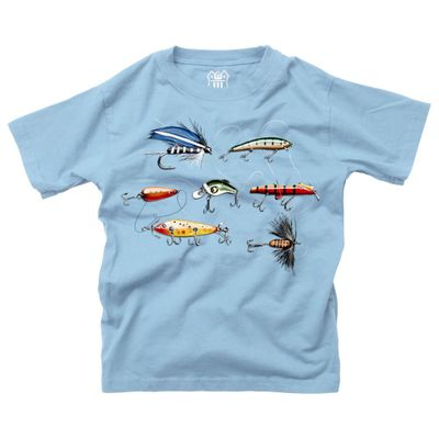 Wes & Willy Boys Sky Blue Fishing Lures Shirt