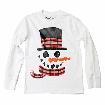Wes & Willy Boys White Shirt - Holiday Snowman