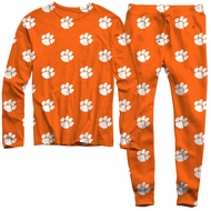 Wes & Willy College Game Day Pajamas - Orange Clemson Tiger Paws