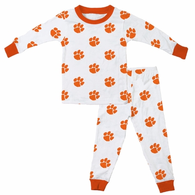 Wes & Willy Collegiate Baby / Toddler Boys Clemson Tigers Orange Paw Print Pajamas - All Over Print
